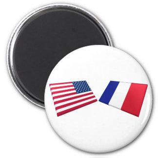 US France Flags Fridge Magnets