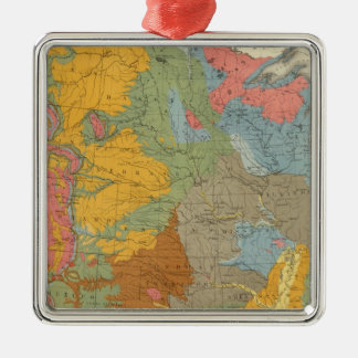 US Geological Map Silver-Colored Square Decoration
