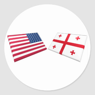 US & Georgia Republic Flags Round Sticker
