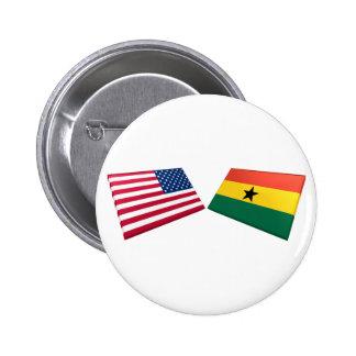 US & Ghana Flags Button