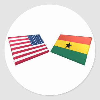 US & Ghana Flags Classic Round Sticker