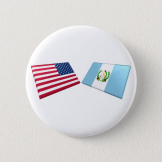 US & Guatemala Flags 6 Cm Round Badge