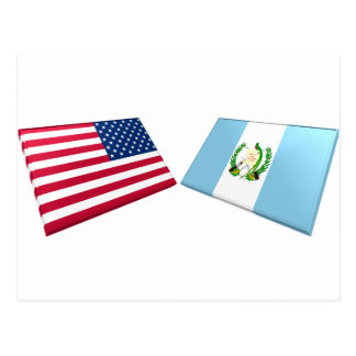 US & Guatemala Flags Postcard