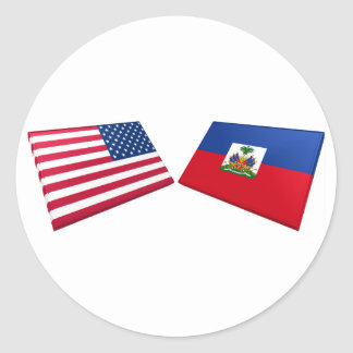 US & Haiti Flags Classic Round Sticker