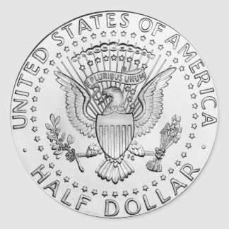 US Half Dollar (pack of 6/20) Classic Round Sticker