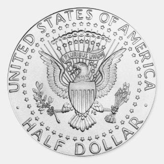 US Half Dollar (pack of 6/20) Round Sticker
