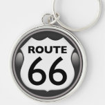 US Historic Route 66 Silver-Colored Round Key Ring