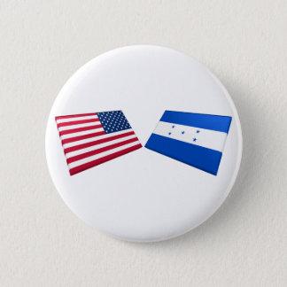 US & Honduras Flags 6 Cm Round Badge