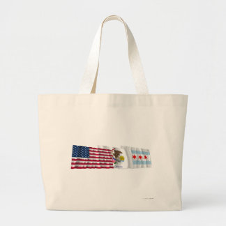 US, Illinois and Chicago Flags Jumbo Tote Bag