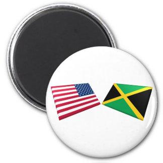 US & Jamaica Flags Magnet