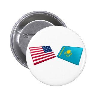 US & Kazakhstan Flags 6 Cm Round Badge