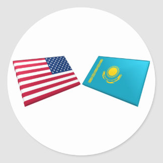 US & Kazakhstan Flags Classic Round Sticker