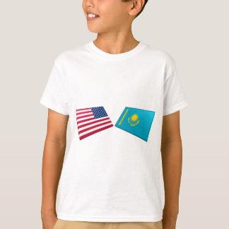 US & Kazakhstan Flags T-Shirt