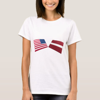 US & Latvia Flags T-Shirt