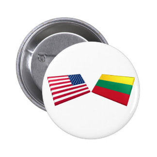 US & Lithuania Flags 6 Cm Round Badge