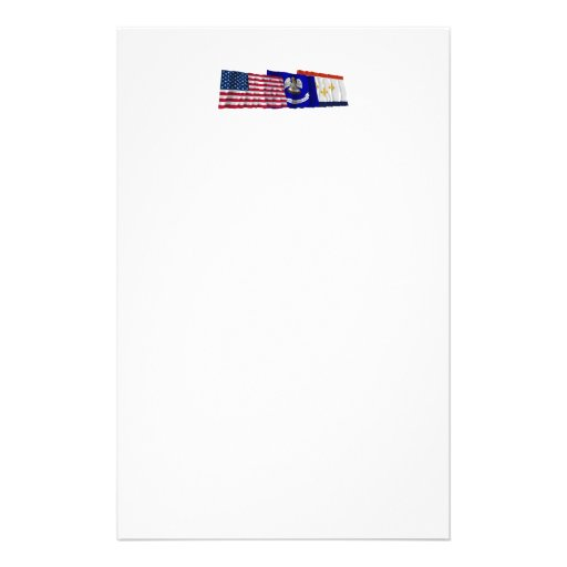 US, Louisiana and New Orleans Flags Customized Stationery