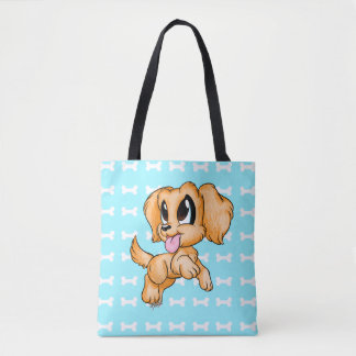 US Made Double Sided Hand Drawn Cute Dog Tote Bag