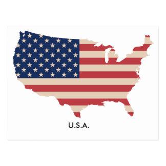US Map Flag Postcard