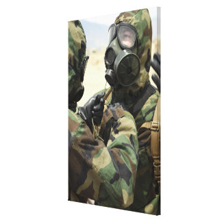 US Marine Corps reservists in camouflage Stretched Canvas Prints