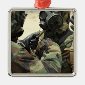 US Marine Corps reservists in camouflage Christmas Ornament