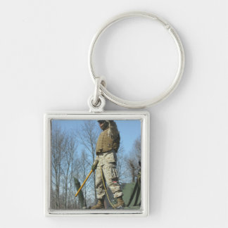 US Marine Corps Sergeant gives the thumbs up Silver-Colored Square Key Ring
