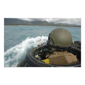 US Marine driving an amphibious assault vehicle Photograph