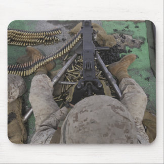 US Marine fires an M2 50-caliber machine gun Mouse Mat