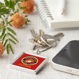 US Marine Official Seal - Father Silver-Colored Square Key Ring