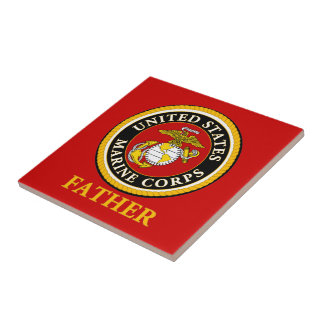 US Marine Official Seal - Father Small Square Tile