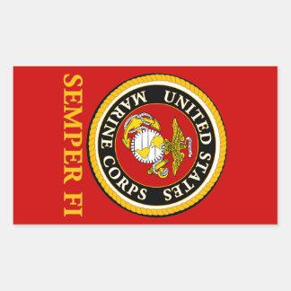 US Marine Official Seal - Semper Fi Rectangular Sticker