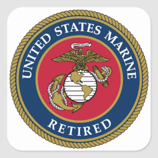 US Marine Retired Blue Square Sticker