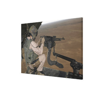 US Marine test firing an M240 heavy machine gun Canvas Print