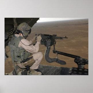 US Marine test firing an M240 heavy machine gun Print