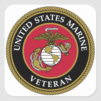 US Marine Veteran Blue Square Sticker