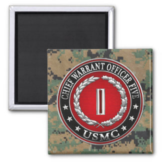 US Marines: Chief Warrant Five (USMC CWO-5) [3D] Square Magnet