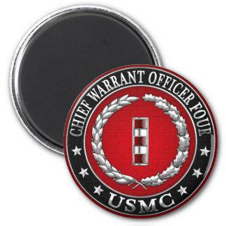 US Marines: Chief Warrant Four (USMC CWO-4) [3D] 6 Cm Round Magnet