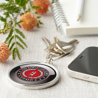 US Marines: Chief Warrant Four (USMC CWO-4) [3D] Silver-Colored Round Key Ring