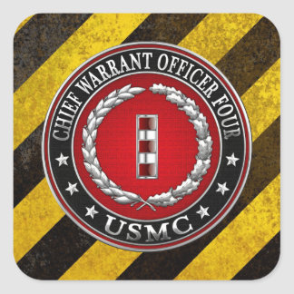 US Marines: Chief Warrant Four (USMC CWO-4) [3D] Square Sticker