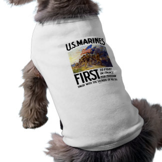 US Marines -- First To Fight In France Pet Tee
