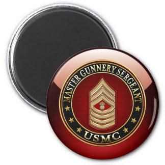 US Marines: Master Gunnery Sergeant (USMC MGySgt) 6 Cm Round Magnet