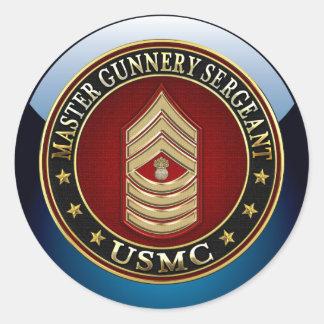 US Marines: Master Gunnery Sergeant (USMC MGySgt) Classic Round Sticker