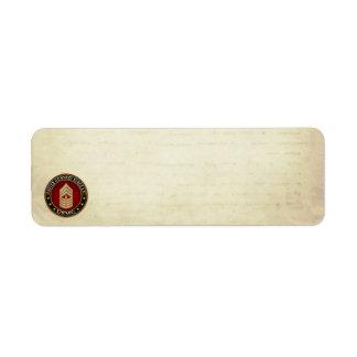 US Marines: Master Gunnery Sergeant (USMC MGySgt) Return Address Label