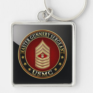 US Marines: Master Gunnery Sergeant (USMC MGySgt) Silver-Colored Square Key Ring