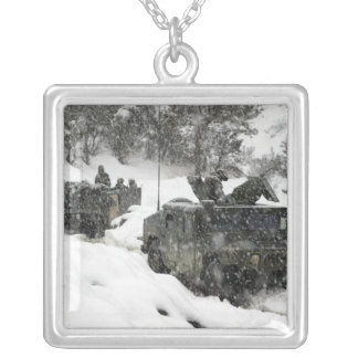 US Marines patrol in Khowst-Gardez Pass Silver Plated Necklace