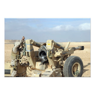 US Marines prepare to fire a howitzer 2 Photograph