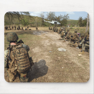 US Marines provide security as a UH-1N Mouse Mat