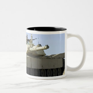US Marines provide security in a battle tank Two-Tone Coffee Mug