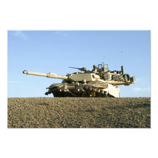 US Marines provide security in an M1A1 Abrams t Photo Print