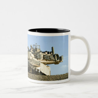 US Marines provide security in an M1A1 Abrams t Two-Tone Coffee Mug