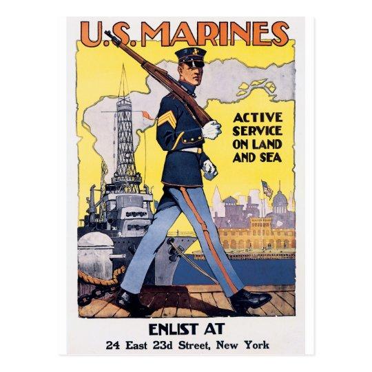 US Marines WWI Poster Vintage Postcard
